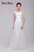 One Shoulder Strapless A-Line Lace Wedding Dresses Sequined Sweep Train Sleeveless Long Bridal Gowns