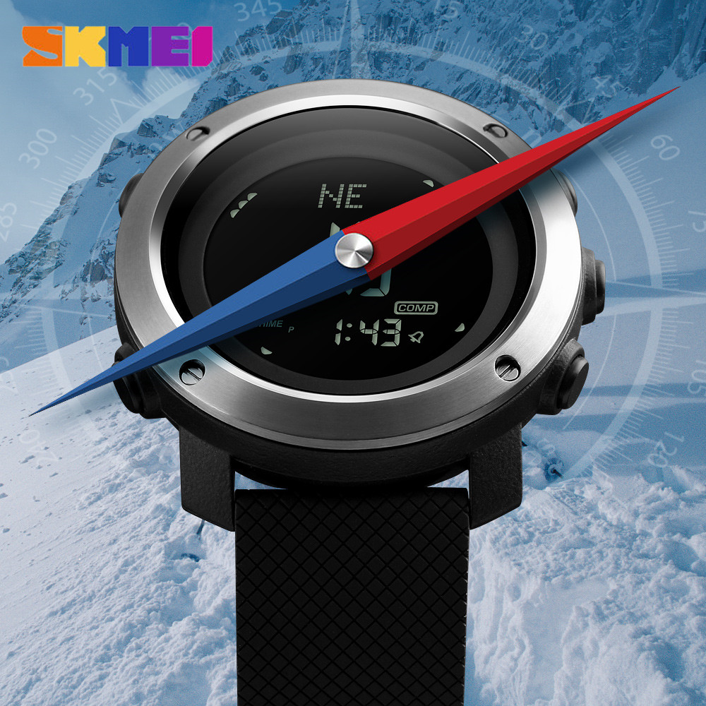 Image 2 - SKMEI Altimeter Barometer Thermometer Altitude Men Digital Watches Sports Clock Climbing Hiking Wristwatch Montre Homme 1418-in Digital Watches from Watches