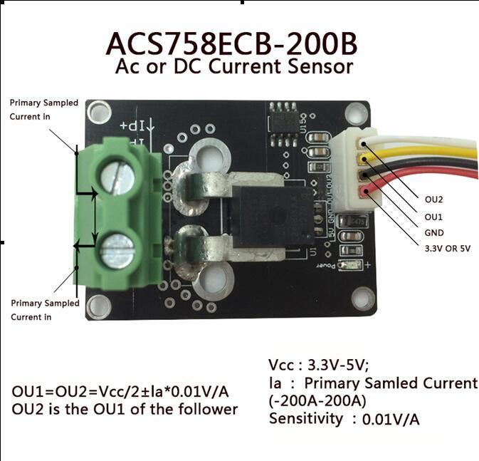 Module de capteur de courant alternatif et cc de ACS758ECB-200BModule de capteur de courant alternatif et cc de ACS758ECB-200B