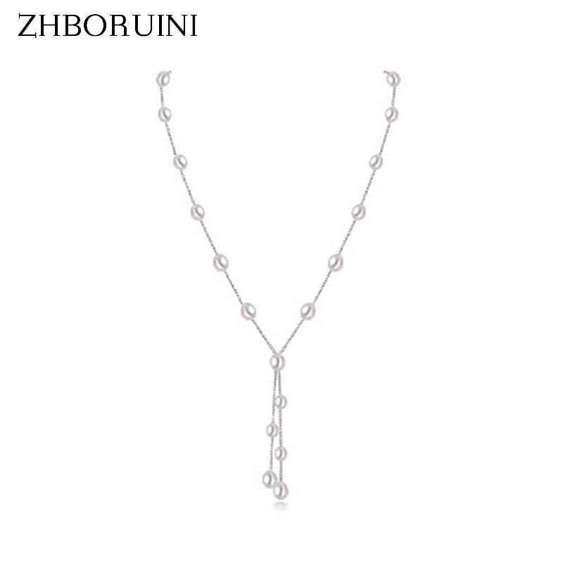 ZHBORUINI 2019 Fashion Pearl Necklace Pearl Jewelry 925 Sterling Silver Jewelry For Women Water Drop Babysbreath Natural Pearl