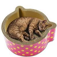 CC Corrugated Paper Cat Ears Round Cat Scratch Board Scratcher Cardboard Cat House Scratching Itchy Warm House Pet Supplies