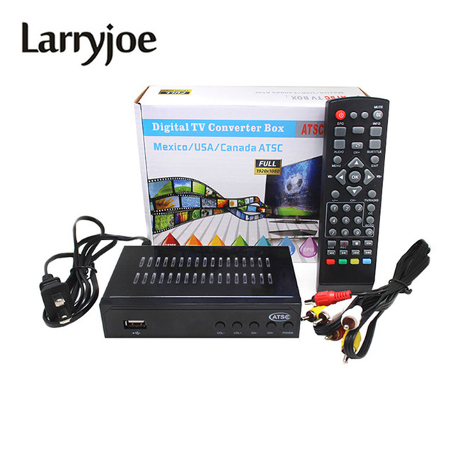 Larryjoe 1080P ATSC Digital Analog Converter Terrestrial Broadcast TV Box Receiver Antenna USB Record Playback for USA/Mex/Can