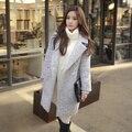 Зимнее Пальто 2016 женщин Корейской Стиль Vintage Элегантный Поворот Вниз Воротник Крытая Кнопка Длинные Шерстяное Пальто Серый S-XL casaco feminino