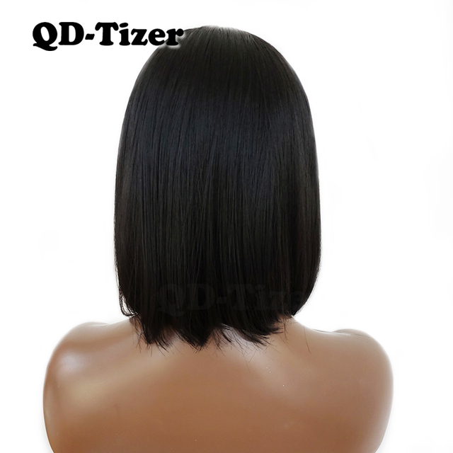 QD-Tizer Bob Wig Short Straight Synthetic Lace Front Wig with Baby Hair Glueless Black Color Lace Front Wigs for Black Women