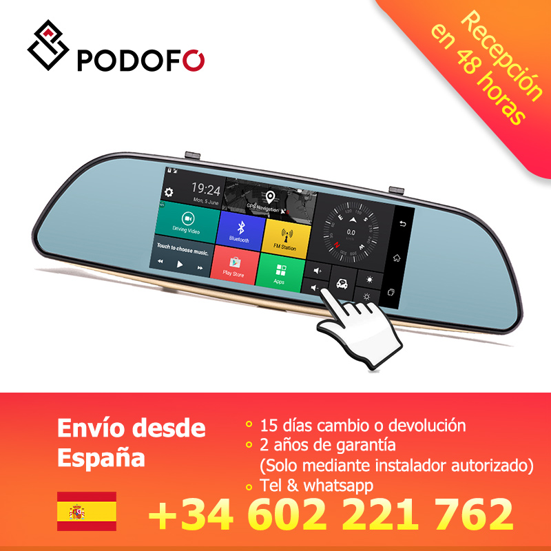 Podofo 7'' Car Dashcam Dual Dashboard Camera Recorder Touch Screen Rear View GPS Bluetooth WIFI Android Parking Monitor Mirror