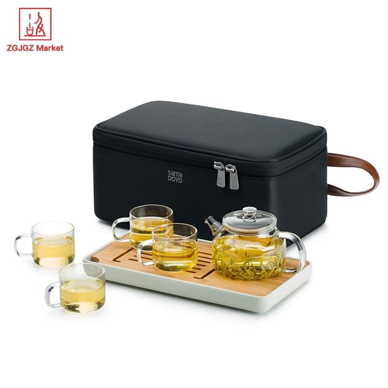 ZGJGZ hordozható teáscsészék Teáskanna tea tálca utazás - Konyha, étkező és bár