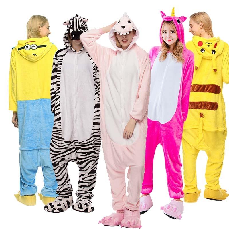 Hot Sale Autumn Winter Unicorn Pajamas Sets Stich Panda Animal Flannel Cartoon Sleepwear For Adult Women Men