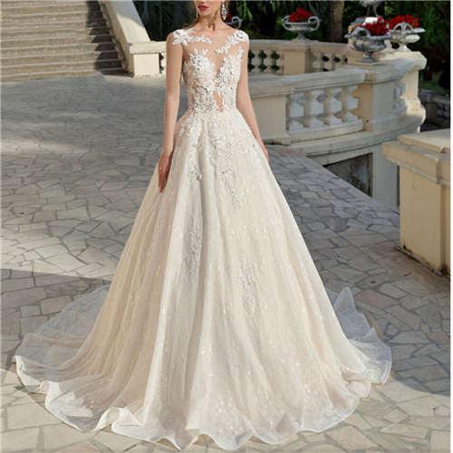 New Arrival Charming Wedding Dress Cap Sleeves Ball Gown Illusion Lace Bridal Gown Vestido De Noiva Appliques Chapel Train