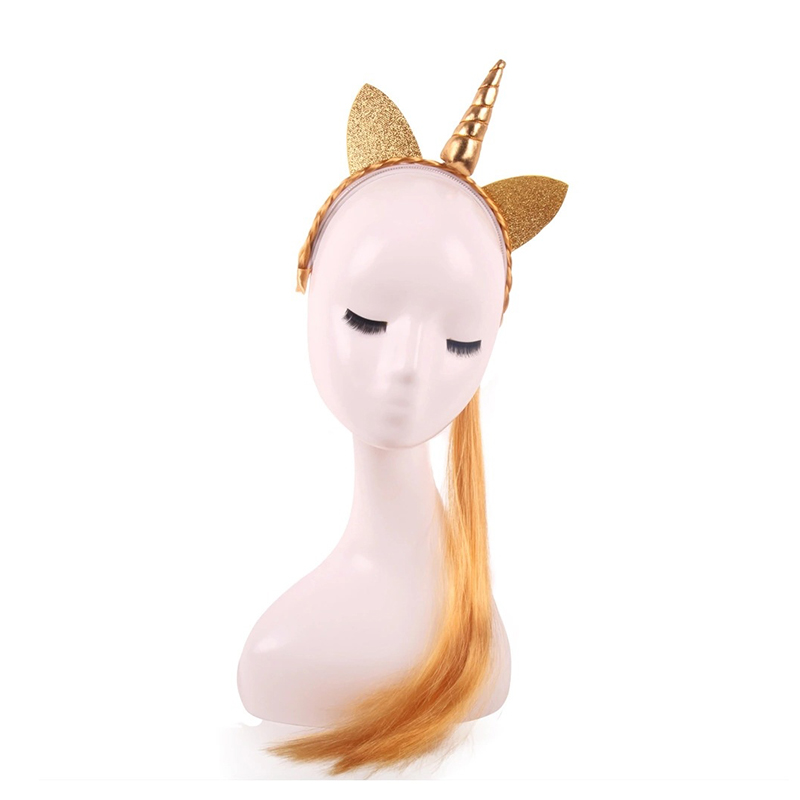 Girls party Headband Horn Ears Wig Braid Hairband Headwear Gold Ponytail cute Hair Accessories For Kids Adults CW-7113