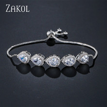 ZAKOL White Gold Color Adjustable Chain Link Bracelet Cubic Zirconia Water Drop Bracelets & Bangles for Women Jewelry FSBP2094