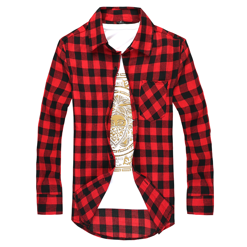 2017 New Fashion Hot Brand Men Red Plaid Shirt Casual Slim Fit ...