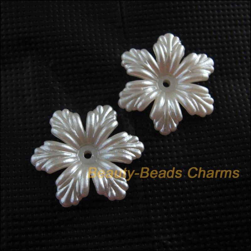 18 Новые шармы акриловые пластиковые цветок лист Spacer Накладка для бисера Белый 24 мм
