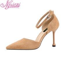 цены на 2019 Pointed Toe Woman Summer Shoes With Heel Brand Designer Fashion Buckle Strap Cover Heel High Heels Sandals Women Nysiani  в интернет-магазинах