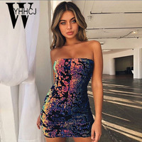 WYHHCJ 2018 Sexy Off Shoulder Summer Dress Strapless Sleeveless Sequins Women Dress Bodycon Pencil Mini Party