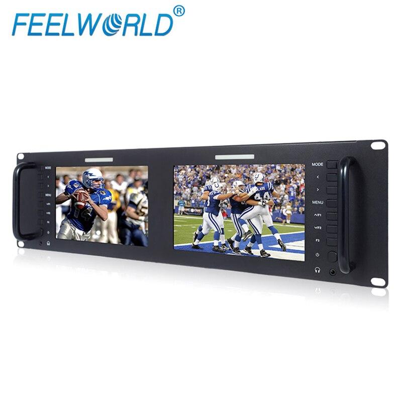 Dual 7 3RU IPS 1280x800 Broadcast LCD Rack Mount Monitor with 3G-SDI HDMI AV Input Output Dual Screen Industrial Monitor D71