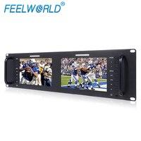 Dual 7 3RU IPS 1280x800 Broadcast LCD Rack Mount Monitor 3G SDI HDMI AV Input And