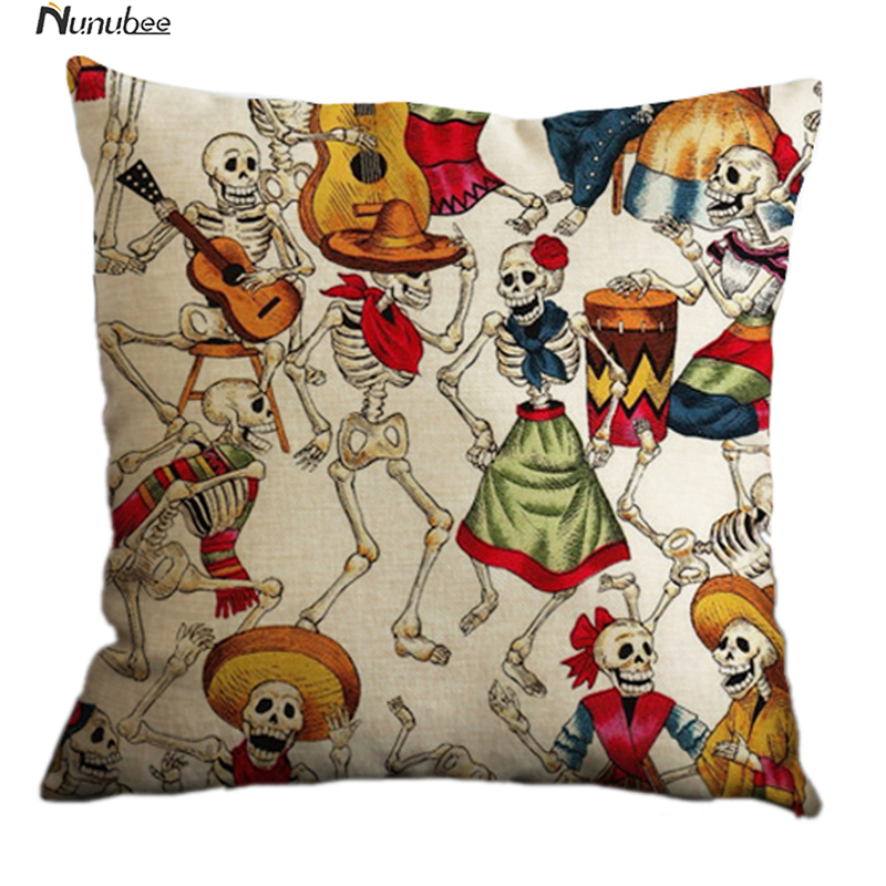 cushioncover linen cotton cushion halloween mexican skull pattern bed car sofa throw pillows home decorative pillowcase