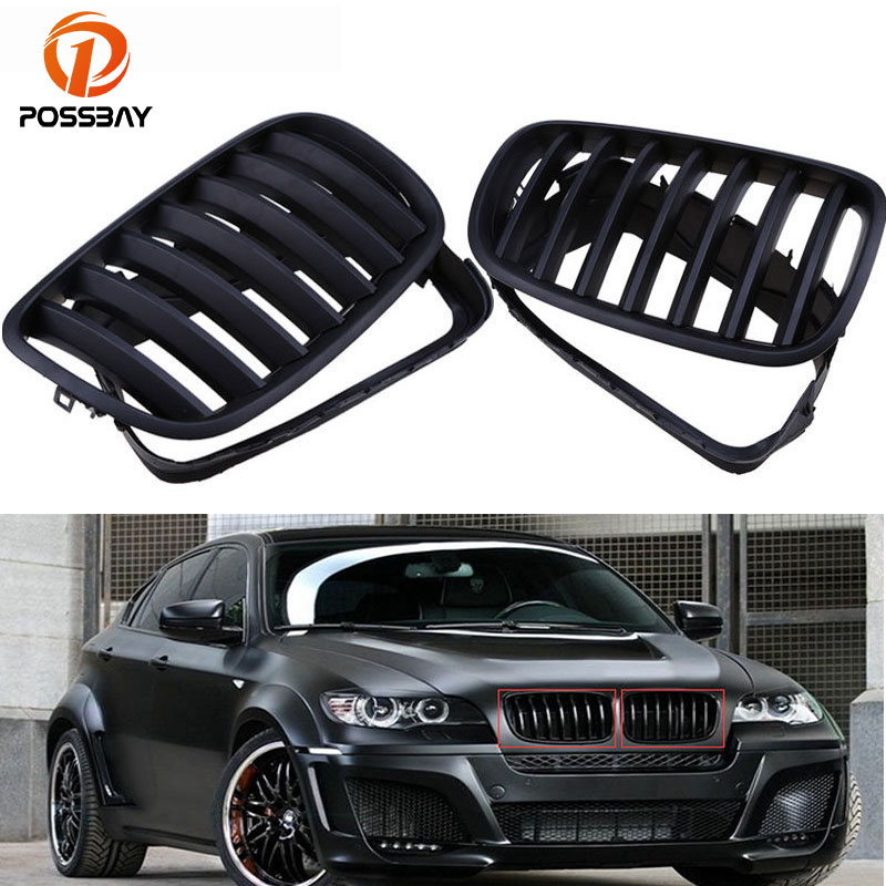POSSBAY High Quality Auto Car Front Center Kidney Hood Grille Grills Frame For BMW X5 E70 2007/2008/2009/2010-2013 Matte Black car styling frp auto body kits bumper for bmw e70 x5 2008 2013
