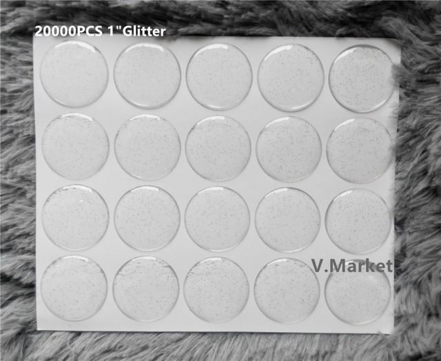 Drop selling 20000 pcs lot glitter epoxy sticker 25 4mm clear bottle cap adhesive circles