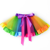 2017 Fashion Rainbow Lace Baby Girls Skirt Ballet Dance Toddler Pettiskirt Elastic Waist Infant Petticoat Princess