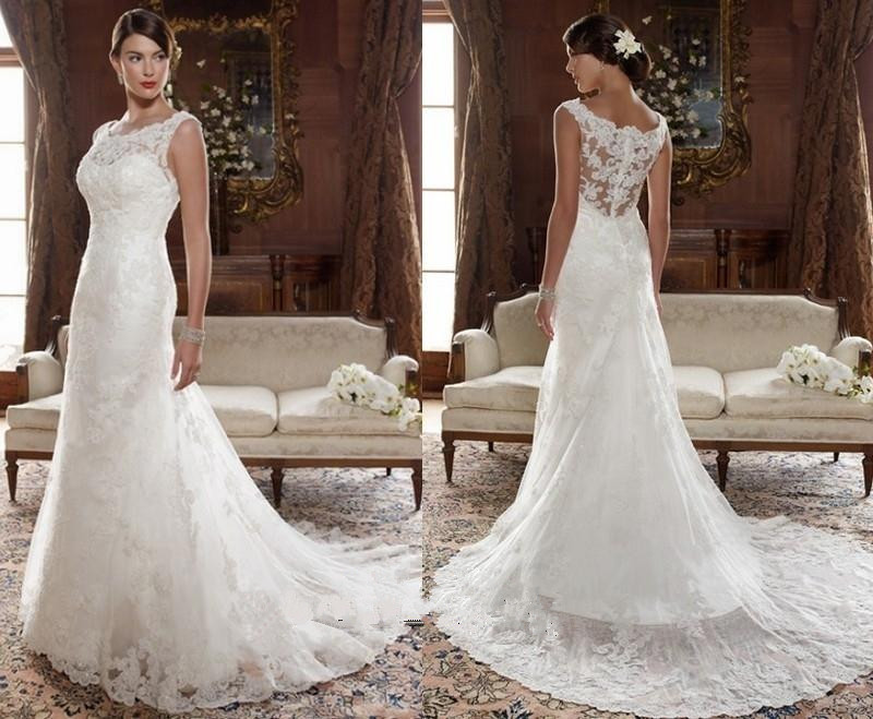 Hot sale new white ivory lace a line wedding dress bridal for No lace wedding dress