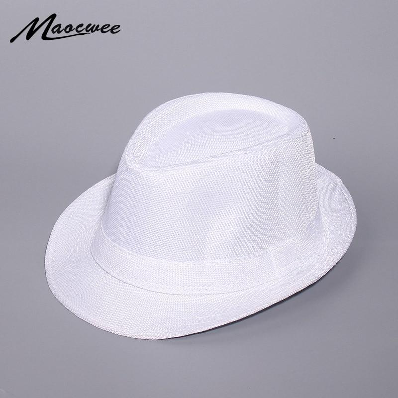 f0864252053ce5 Primavera E L'estate del cappello di Jazz Bianco Cappello Outdoor Cappello  Panama Donne Degli Uomini ...