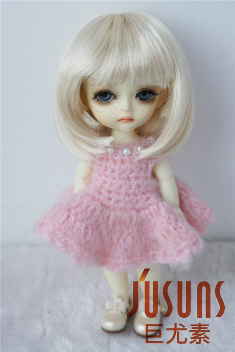 JD026 Factory 1/8  5-6inch Bobo Doll wig with bangs,Lati yellow size soft synthetic mohair wig doll accessories BJD wigs 1 3 1 4 1 6 1 8 1 12 bjd wigs fashion light gray fur wig bjd sd short wig for diy dollfie
