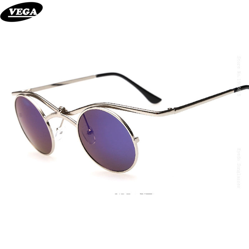 VEGA Round Steampunk Sunglasses Men Women Metal Hippie Glasses Best Circle Hip hop Sunglass Styles 3065