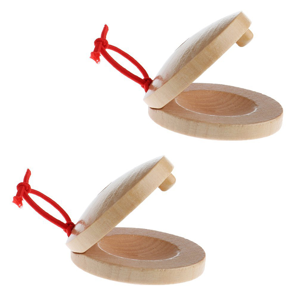 SEWS-A Pair Of Wooden Flamenco Musical Instrument Castanets Of Wood Color Percussion Instrument