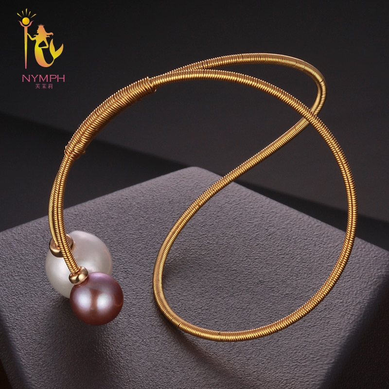 NYMPH Freshwater Pearl Bracelets Fine Jewelry Near Round Natural Pearl Bangles For Women White Trendy Anniversary Gift [S310] [zhixi] freshwater pearl necklace fine jewelry white real pearl necklace near round 7 8mm 45cm anniversary gift for women x118