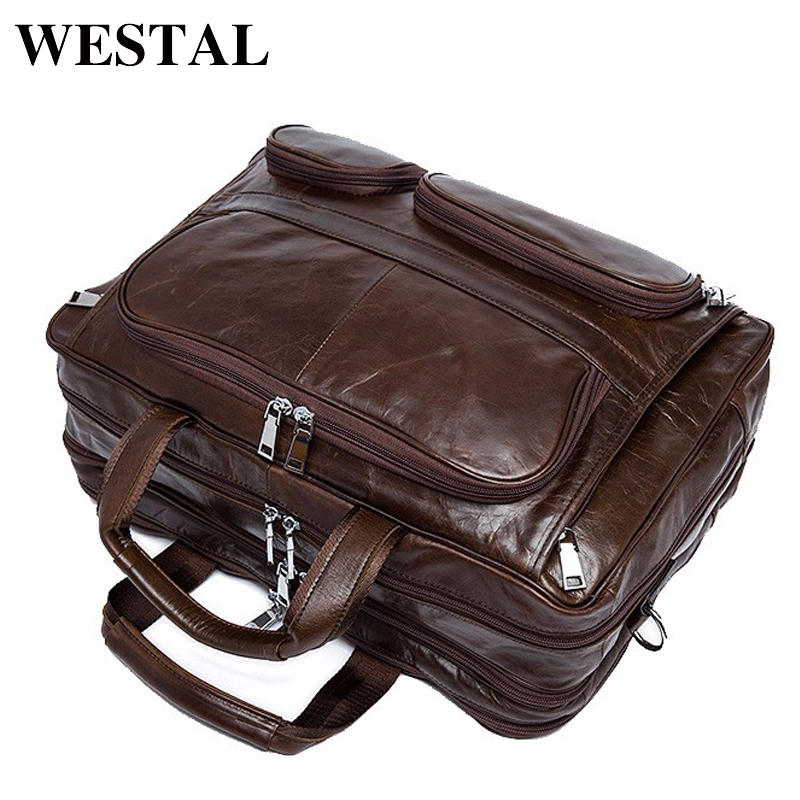WESTAL Man Bag Genuine Cowhide Leather Men Crossbody Should Handbags Fashion Men's Briefcase Laptop Business Man Tote 8813 men genuine leather bag messenger bag man crossbody large shoulder bag business tote briefcase brand handbags laptop briefcase