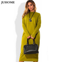 2017 Autumn New Style Online Shopping India Dress Long Sleeve Winter Green Red Lady Clothes O