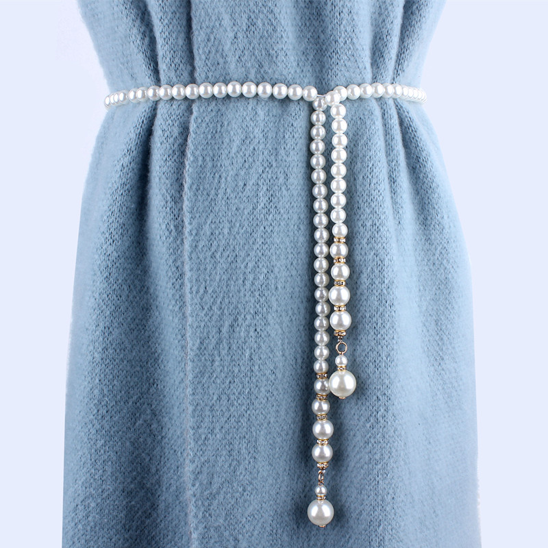 fashion women long rhinestone pearl   belt   chain wedding   belts   waist rope for bride dresses laides female luxury ceinture femme