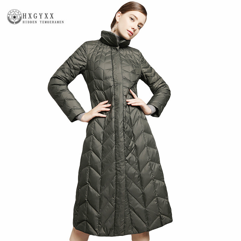 2018 Women Winter Parka Feather Jacket Long Elegant Outwear Slim Warm Stand Collar Women Casual 90% White Goose Down Coat Okb281