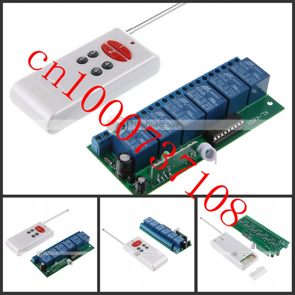 NEW/Free Shipping 6CH DC12V 10A 1000M RF Wireless Remote Control System (transmitter+receiver/switch)