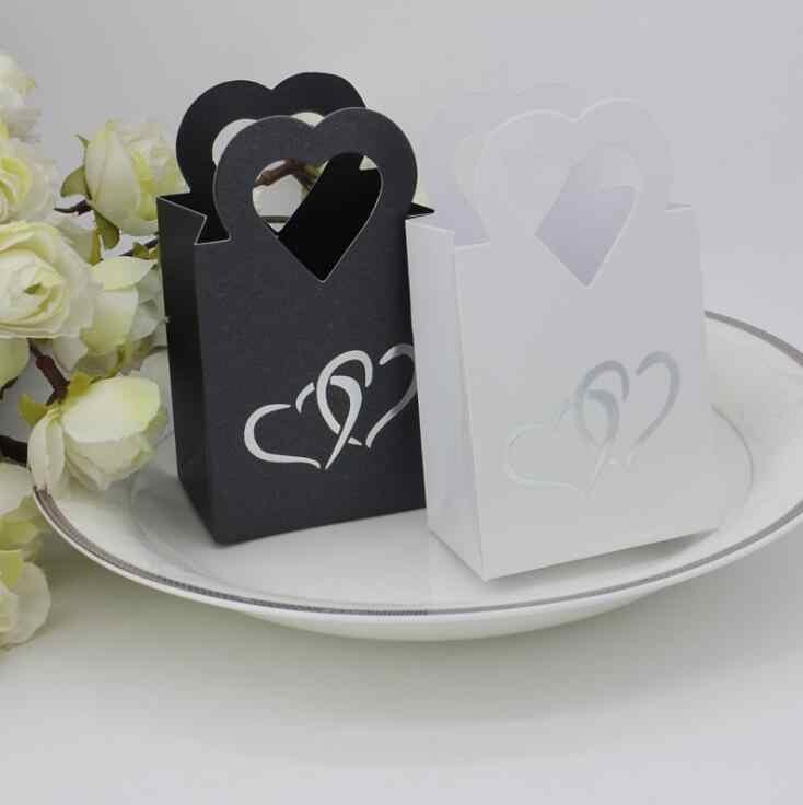 Kotak tas permen chocolate kertas paket hadiah untuk Ulang Tahun perlengkapan Pesta Pernikahan favor Decor DIY tas desain putih/hitam Wh