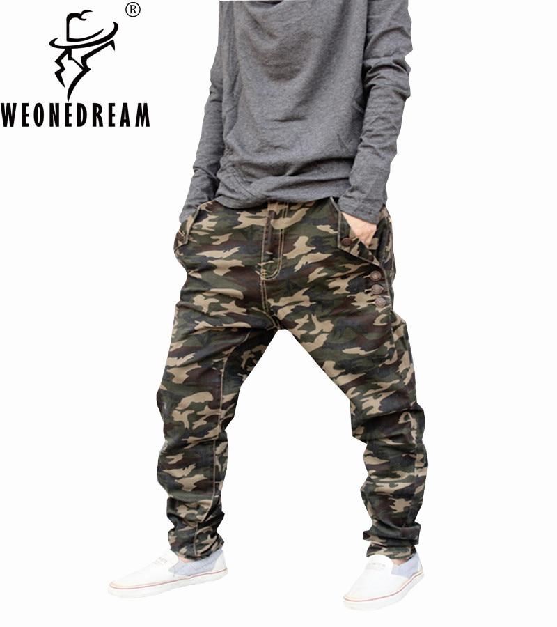 Weoneworld 2018 New Men Jeans Pants Man Camouflage Elastic Harem Demin Cross-Pants Man Hip Hop Streetwear Skinny Pants 7XL Plus