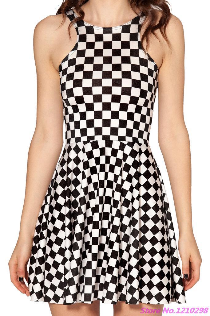 01a1560b1a08a Hot Wavy Lines Dress Black and White Digital Print Dress Pleated Mini  Tennis Dress Sleeveless Sport Dress For Ladies