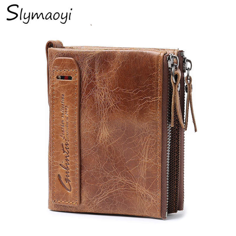 Slymaoyi Genuine Crazy Horse Cowhide Leather Men Wallet Short Coin Purse Double zipper Vintage Wallets Brand High Quality Purses cat embroidery knotted hem cuffed shirt