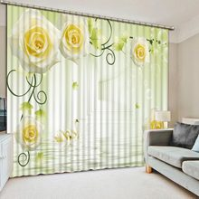 Custom made Blackout Curtains for Window Curtains For Living Room Kitchen Bedroom Kids' Curtain Rose vine European style(China)