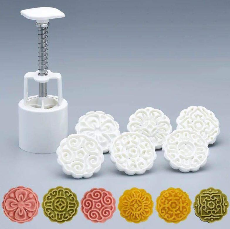 50g 3D  Flowers Mooncake Mold 1 Barrel+6 Stamps Set Hand Pressure Fondant Moon Cake Mould DIY Baking Accessories