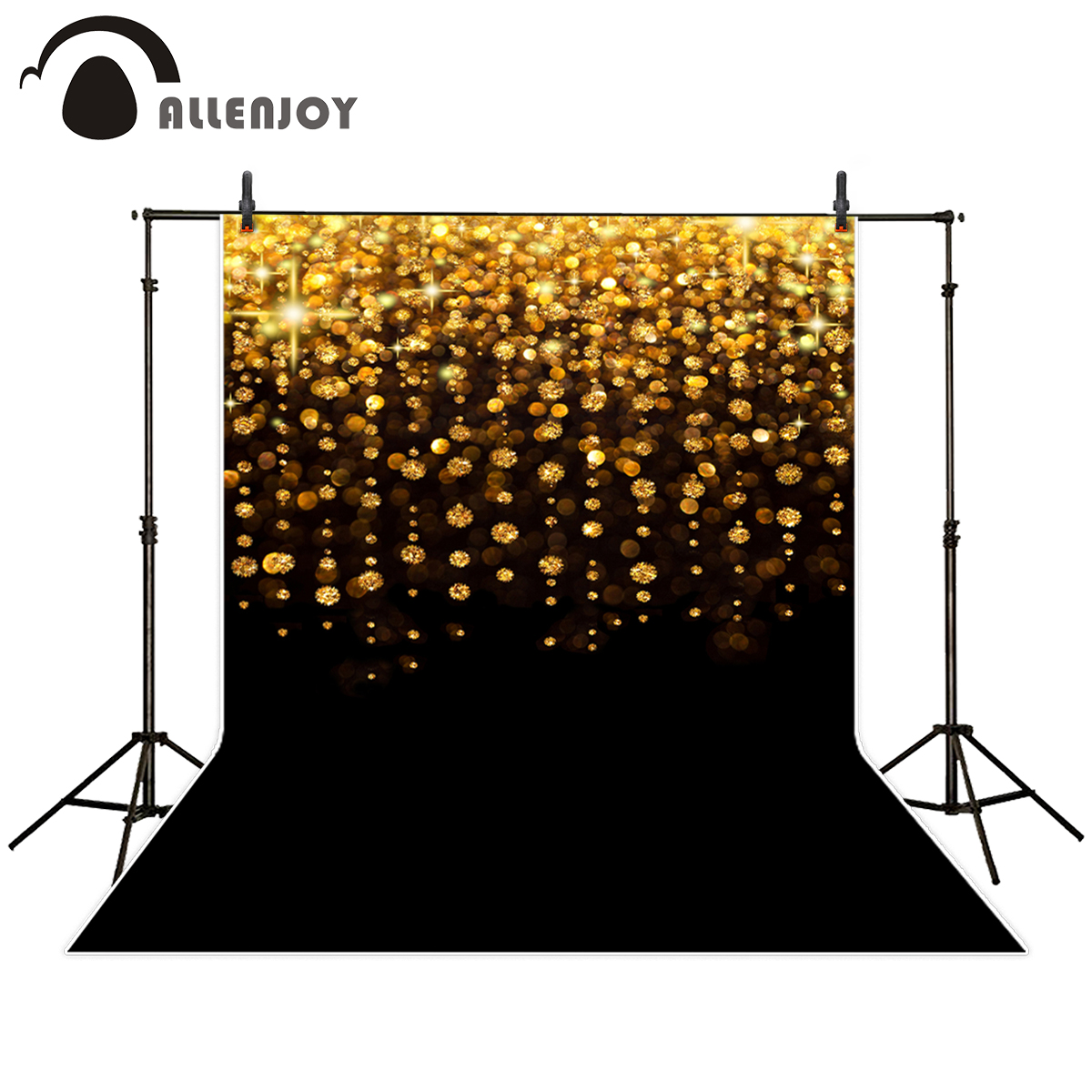 Allenjoy professional photography background black bottom gold dots glitter Bokeh backdrop photo studio photobooth photocall harman kardon onyx studio 2 black