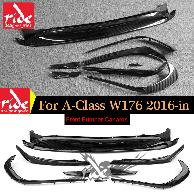 for Mercedes W176 Carbon Fiber Front Bumper Lip Canards 8 pieces/set A45 AMG Style A Class a180 a200 a250 a45