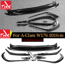 for Mercedes W176 Carbon Fiber Front Bumper Lip Canards 8 pieces/set A45 AMG Style A Class a180 a200 a250 a45