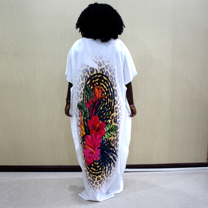 Image 2 - Fashion African Dashiki Long Dresses For Women Short Sleeve Casual Print African Clothes