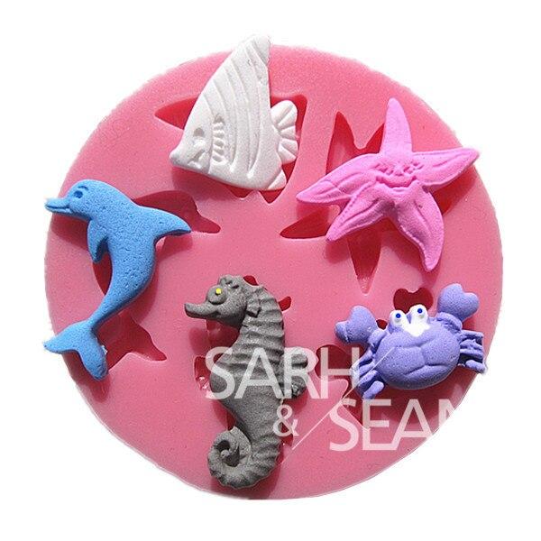 M0191 animales marinos delfines starfish cangrejo pastel moldes del molde del ch