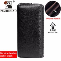 FUZHINIAO Men Wallet Clutch Genuine Leather Brand Rfid Wallet Male Cell Phone Clutch Bag Long Coin Purse Portomonee Magic Perse