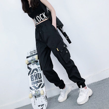 pants women trousers plus size Big pocket overalls loose beam foot harem black female streetwear