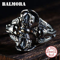 BALMORA 925 Sterling Silver Vajra Elephant Open Rings for Men Vintage Animal Ring Thai Silver Fashion Jewelry Anillos SY20892