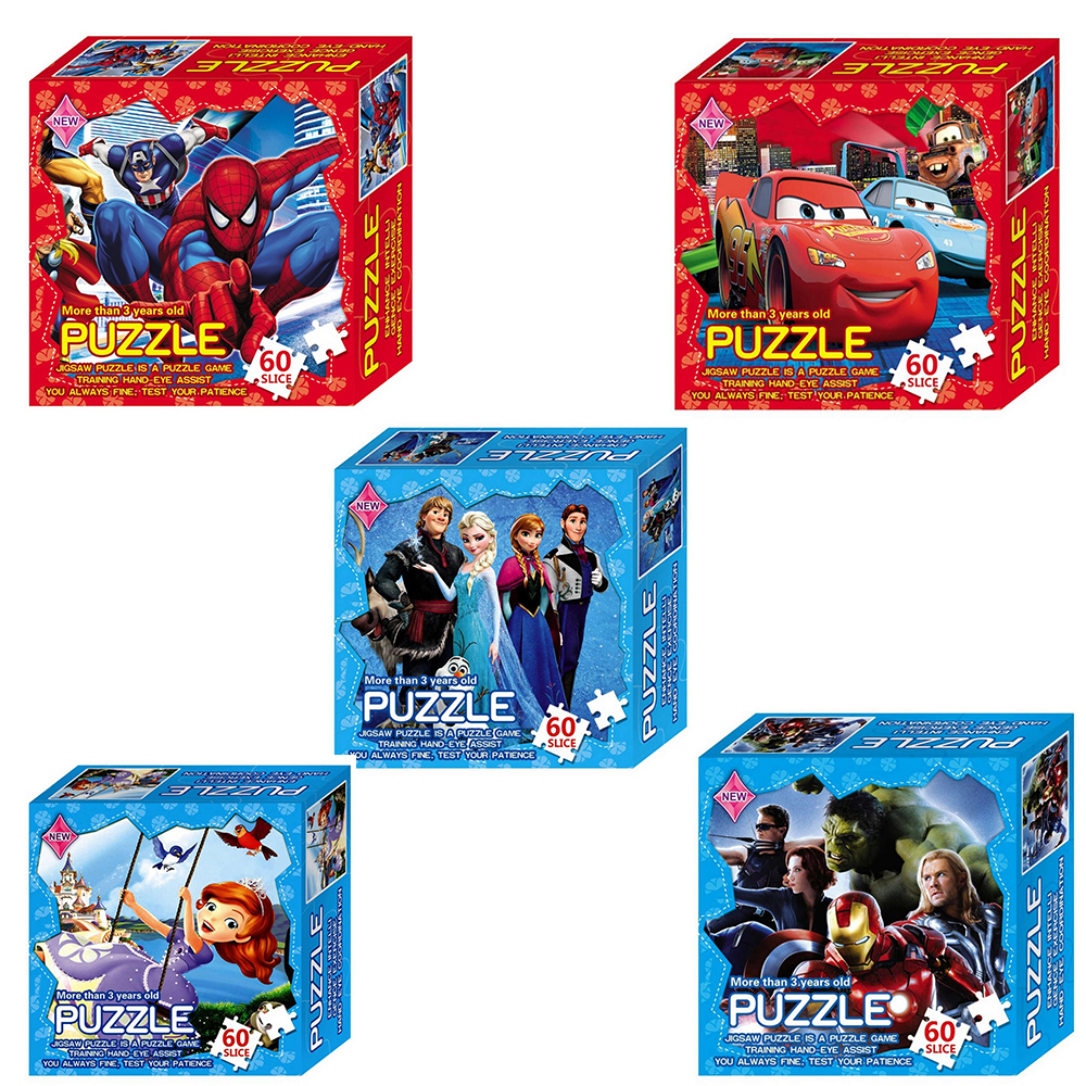 60 Pcs Cartoon Paper Jigsaw Puzzle Toys For Children Puzzle Games Princess Educational Puzzles For Kids Learning Popular Toys